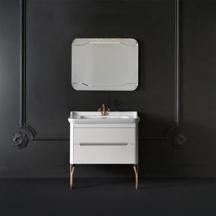 KERASAN Waldorf Комплект  мебели с ножками ЗОЛОТО , с 1 ящиком и 1 дверцей, ножками (золото) и зеркалом, 100 см, Цвет: bianco mat.