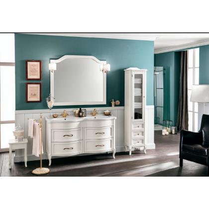 EBAN Rachele Комплект мебели: база под раковину с доводчиками Blum, с двойной раковиной, ручки золото, 140 см, Цвет: BIANCO PERLATO