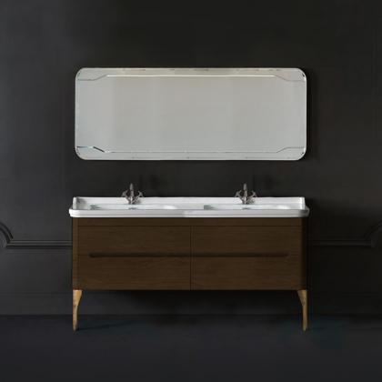 KERASAN Waldorf Комплект подвесной мебели 150 см  Цвета: noce с двойной раковиной и ножками БРОНЗА