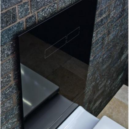 Комплект TECELux для установки унитаза -биде (TOTO,Geberit) с верхней панелью из черного стекла с механическим блоком управления  и нижней панелью стекло черное