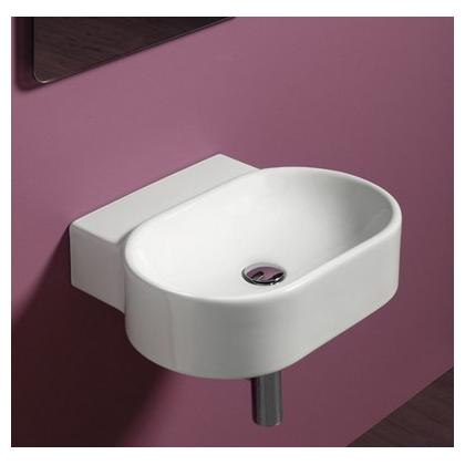 Умывальник Simas Flow 52x42 см, овальный, без отверстия под смеситель, белый, FL17