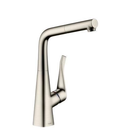 Смеситель для кухни Hansgrohe Metris 14821800 с выдвижным изливом, сталь