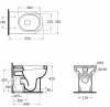 AZZURRA NUVOLA Унитаз напольный приставной 55х35см, слив в стену, с белым сиденьем на выбор-2