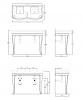 SIMAS Lante Комплект мебели, консоль с двойной раковиной. зеркало овальное, 120см, Цвет: tortora-2